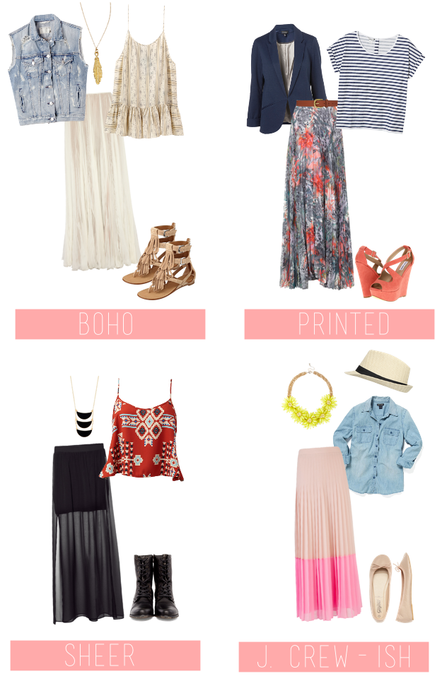 cute ways to wear maxi skirts