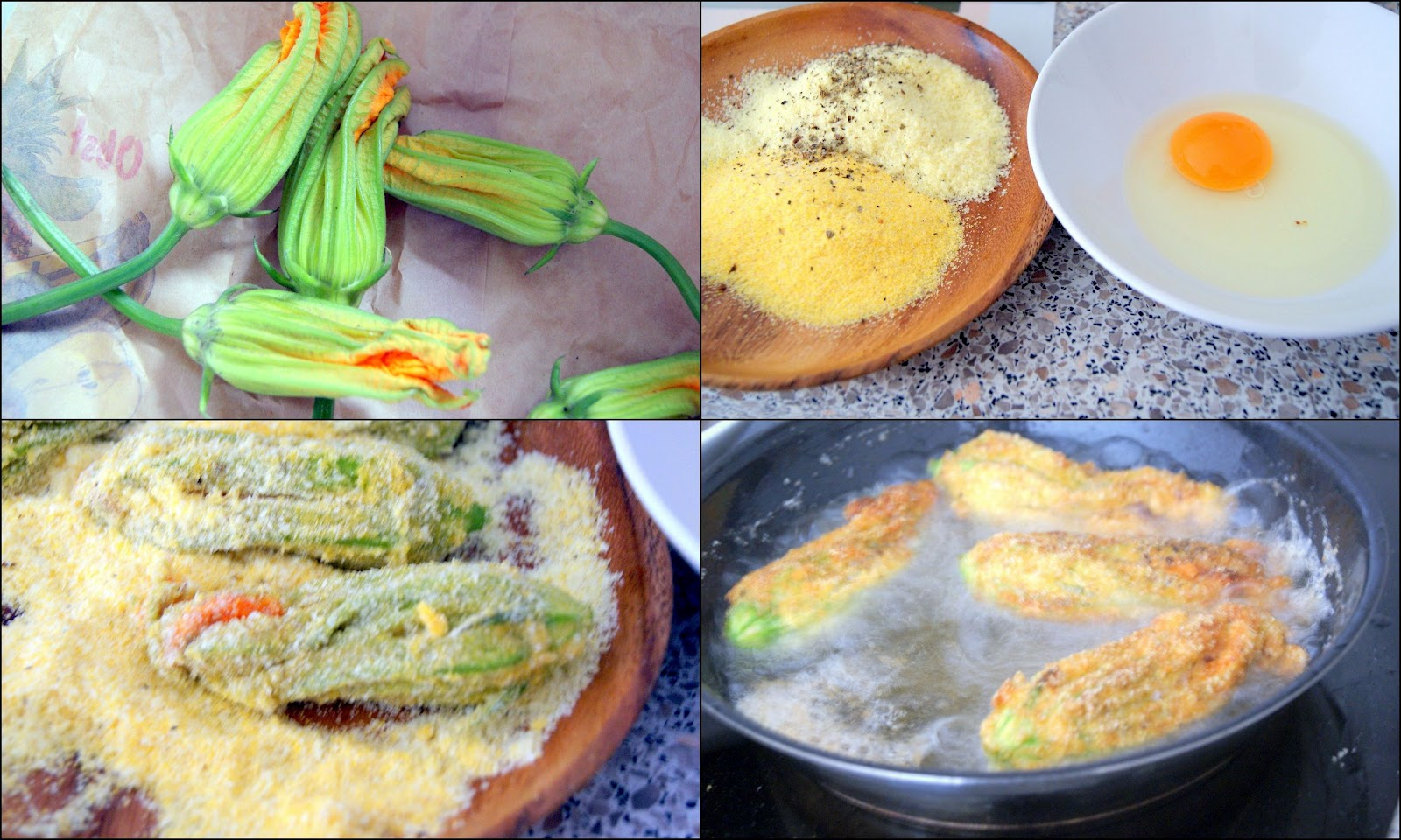 Pick The Zucchini Flowers, Have 3 Separated Plates Or Bowls Ready: One For  Lightly
