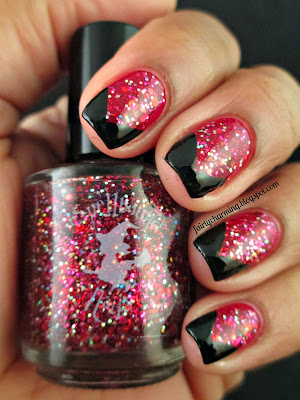 Spellbound Nails Carnival Lights, glitter, black, black tips, french tips, frenchie, red, indie polish, nail polish, nails, nail art, nail design, mani
