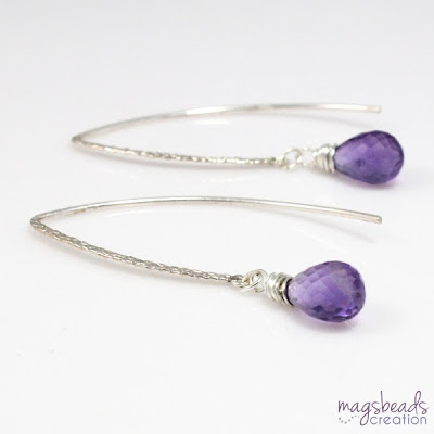 Wire Wrapped Briolette Amethyst Earrings - magsbeadscreation.com