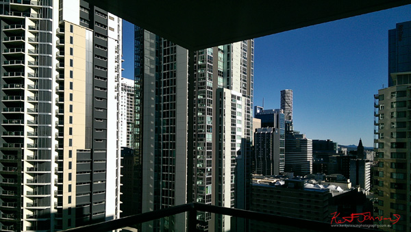 Brisbane apartments and city hills, skyline, the view from the 26th floor I Stay River City. By Kent Johnson.