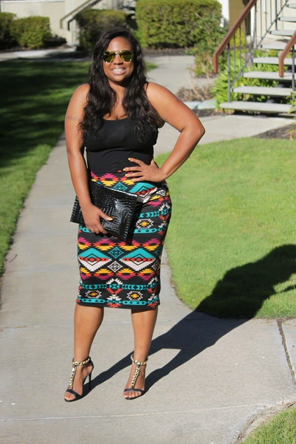 Multi-color Aztec Print Skirt DIY clutch Mirror Aviator sunglasses