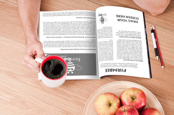 Download Gratis Mockup Majalah, Brosur, Buku, Cover - Reading Magazine Mockup