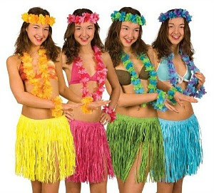Hawaiian Girls in Hula Skirts