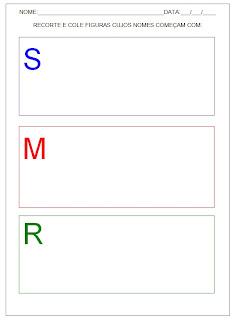 Hipótese de escrita pré-silábica - Recorte e cole figuras.