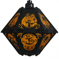 Orange and black paper lantern by Bindlegrim for Summer Sale July 2013 with art & verse of The Cornish Litany
