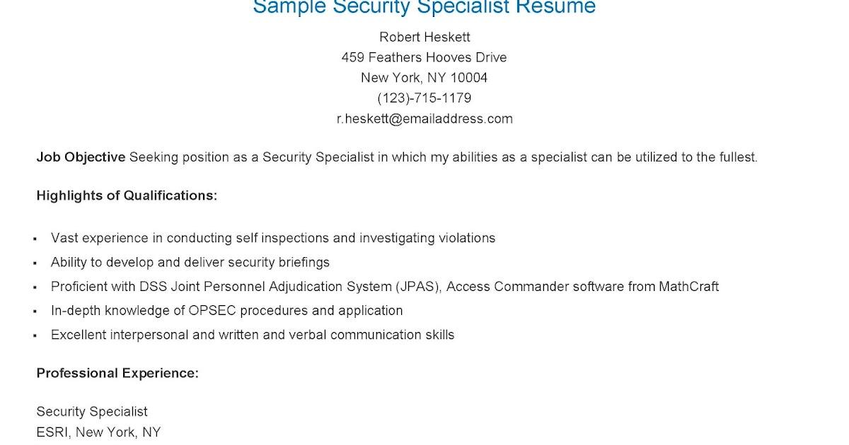 security specialist resume - Gidiye.redformapolitica.co