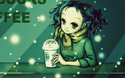 Green coffe drinking anime chick 1920 x 1280