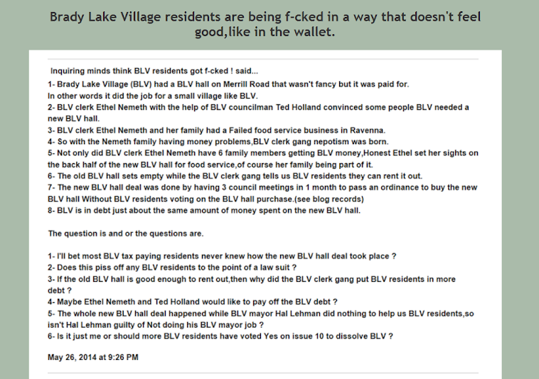 Here's how things are done in Brady Lake Village aka Clerksville Ohio.