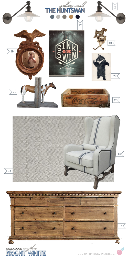 The Huntsman || on California Peach || Kids Room Bedroom Interior Design Style Board