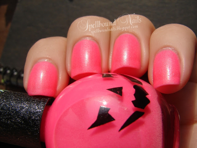 nails nailart nail art mani manicure Spellbound neon pink glow in the dark Pumpkin Halloween October color swatch