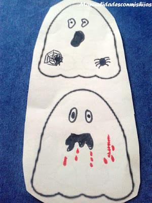 Manualidades para niños: Recortando fantasmas dedos
