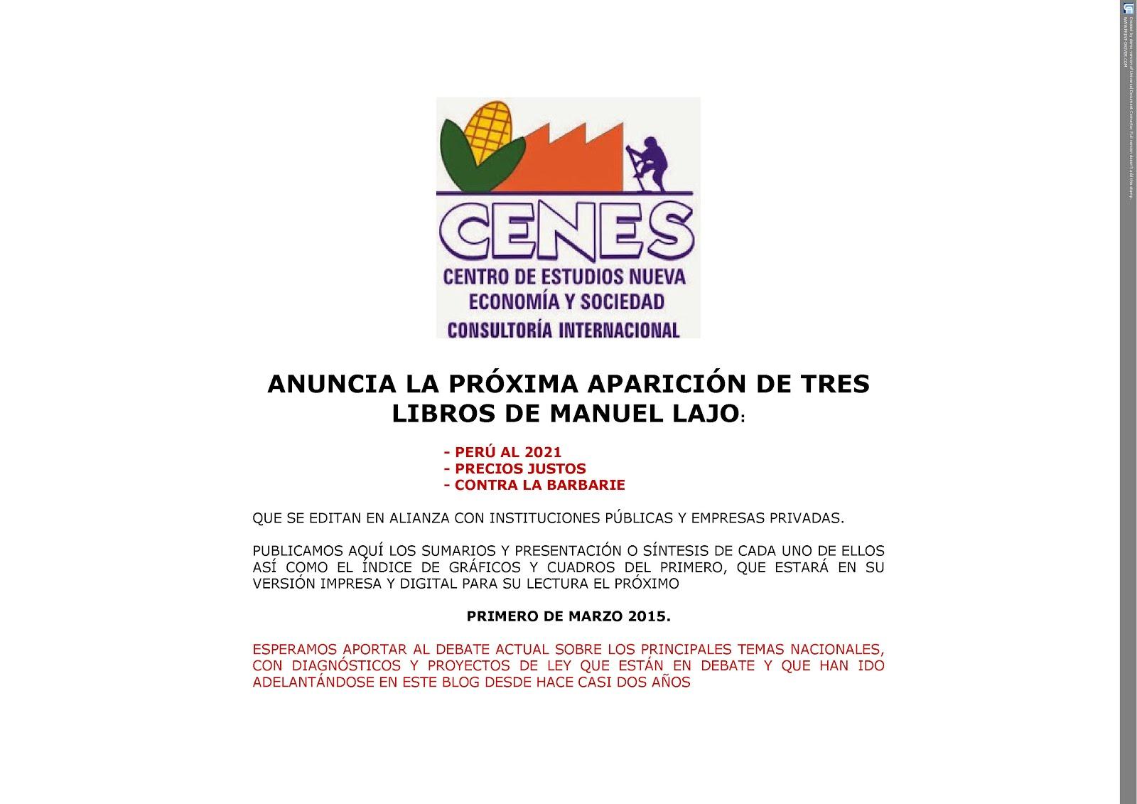 CENES: ANUNCIA LA PRÓXIMA APARICIÓN DE TRES LIBROS DE MANUEL LAJO
