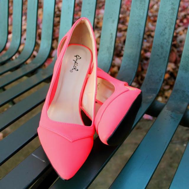 Qupid Neon Coral Heels