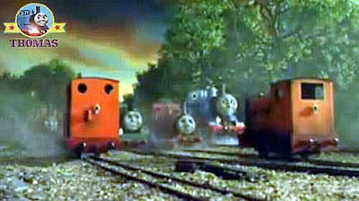 Gallant old Rheneas and Thomas the tank engine transfer yard Skarloey railway narrow gauge engines