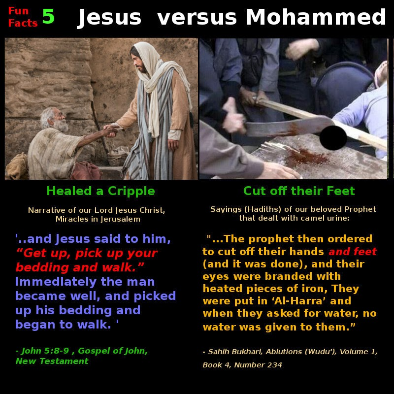 """jesus vs mohammed """"it was the command of god, conveyed to us through the prophet muhammad,  that no other religion be permitted in the land where islam was born,"""" the imam."""