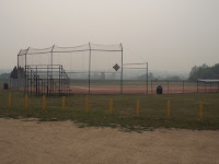 Smoke filled Lumsden campground ball field