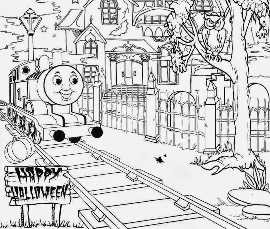 Haunted thomas the train halloween coloring pages for Thomas the train color page