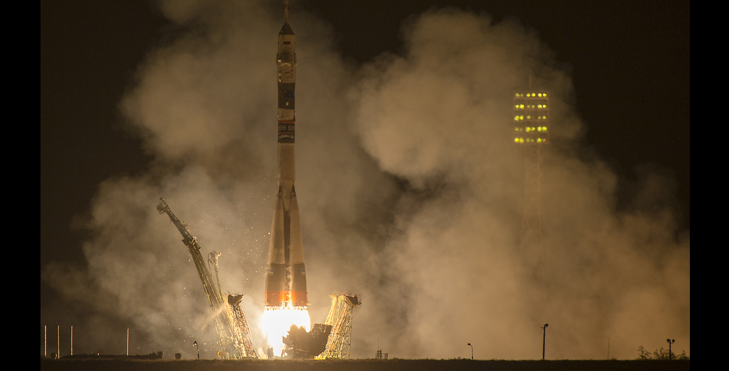 The Soyuz TMA-14M rocket is launched with Expedition 41 Soyuz Commander Alexander Samokutyaev of the Russian Federal Space Agency (Roscosmos) Flight Engineer Elena Serova of Roscosmos, and Flight Engineer Barry Wilmore of NASA, Friday, Sept. 26, 2014 at the Baikonur Cosmodrome in Kazakhstan. Samokutyaev, Serova, and Wilmore will spend the next five and a half months aboard the International Space Station. Serova will become the fourth Russian woman to fly in space and the first Russian woman to live and work on the station. Image Credit: NASA/Joel Kowsky