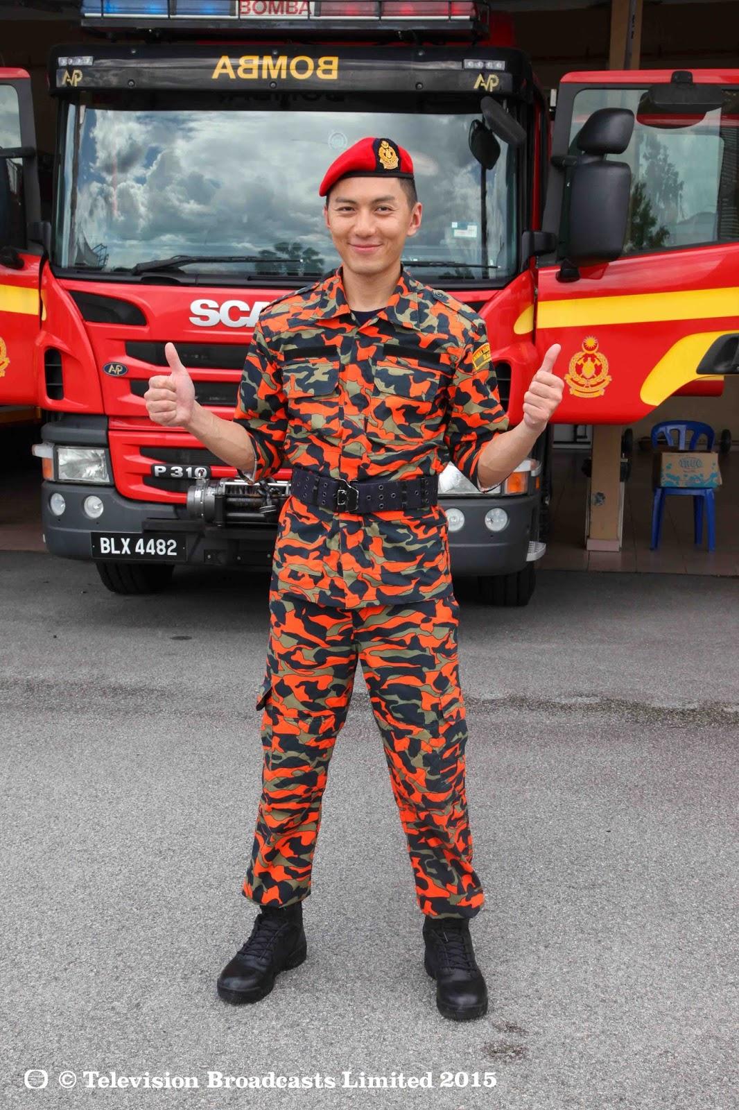 袁伟豪身穿学员制服,准备体验消防员的工作 由袁伟豪拍摄的《星级健康3》第二集,将于6月14日在Astro华丽台(频道311)及华丽台HD(频道310)播出!