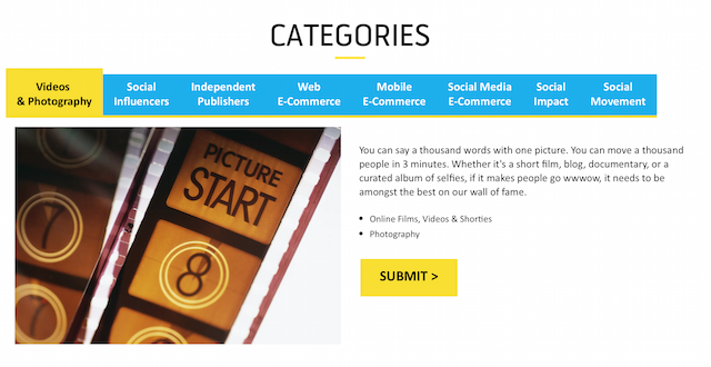 Categories for the Digi WWWOW Awards 2015
