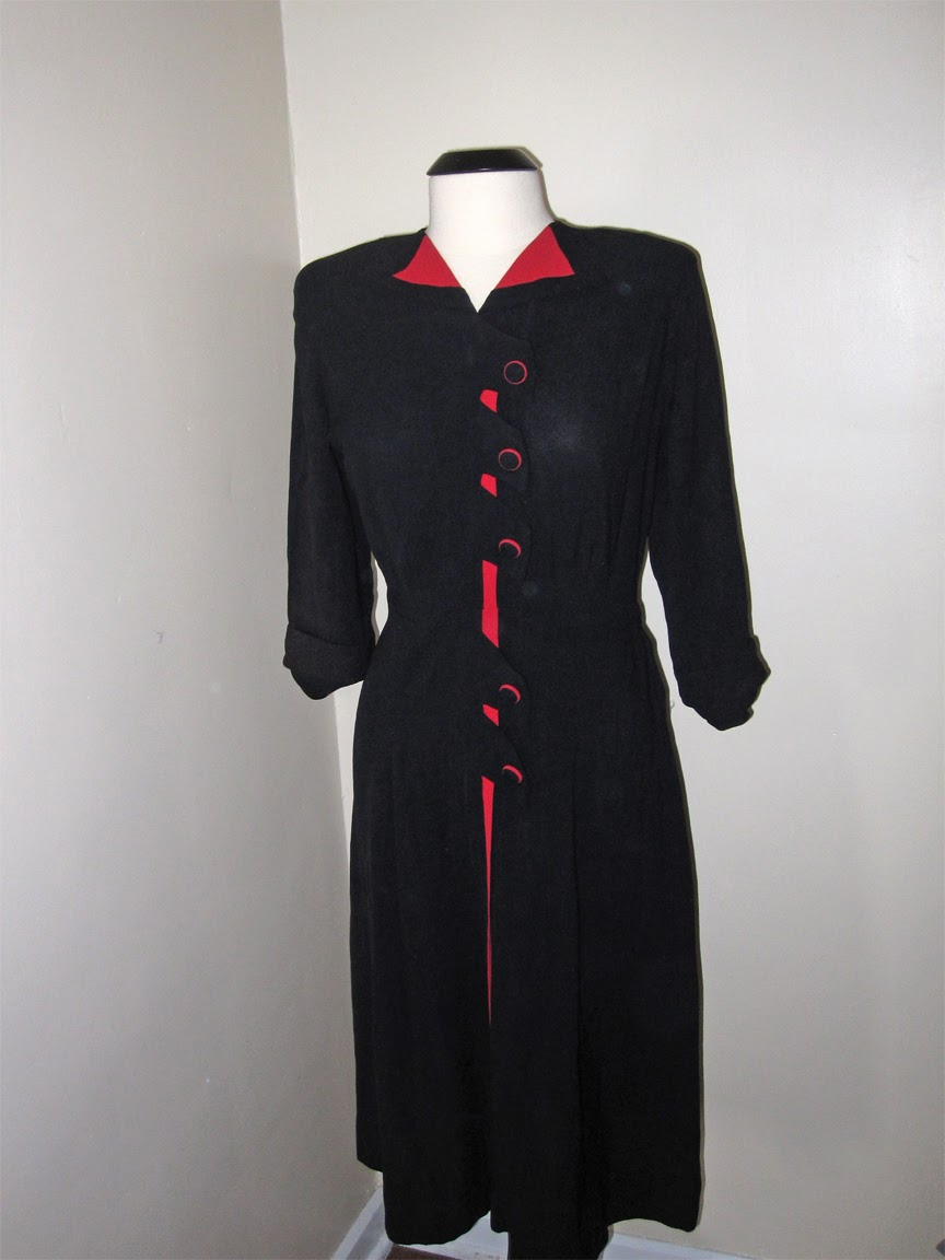 Stunning Black and Red 1940's Rayon Dress