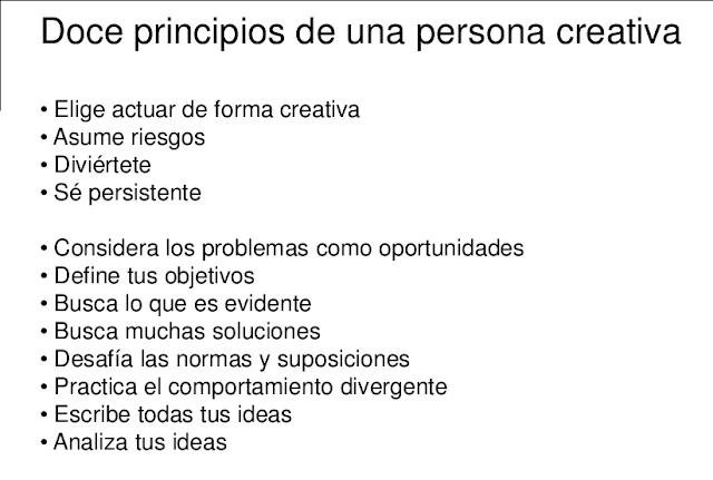 PRINCIPIOS DE UNA PERSONA CREATIVA