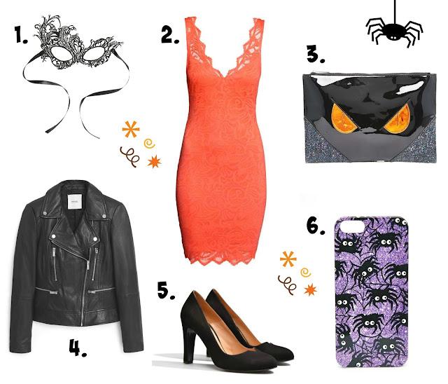look noche Halloween negro naranja vestido encaje sexy estilismo