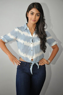 Pooja Hegde in beautiufl Shirt and Denim jeans at Mukunda movie Special Interview