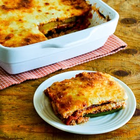 Grilled Zucchini Low-Carb Lasagna (with Italian Sausage, Tomato, and Basil Sauce) found on KalynsKitchen.com
