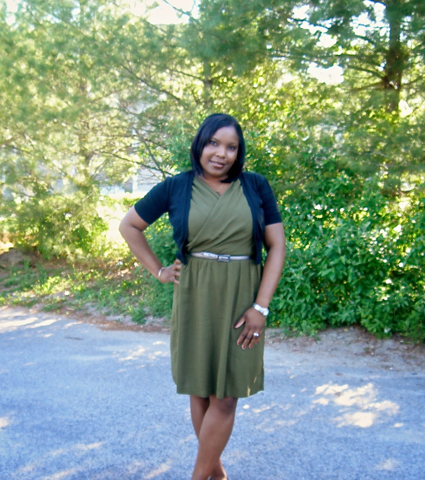Grecian neckline dress, Olive dress