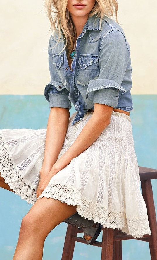 Lace skirt with denim top, one of the reasons to love summer