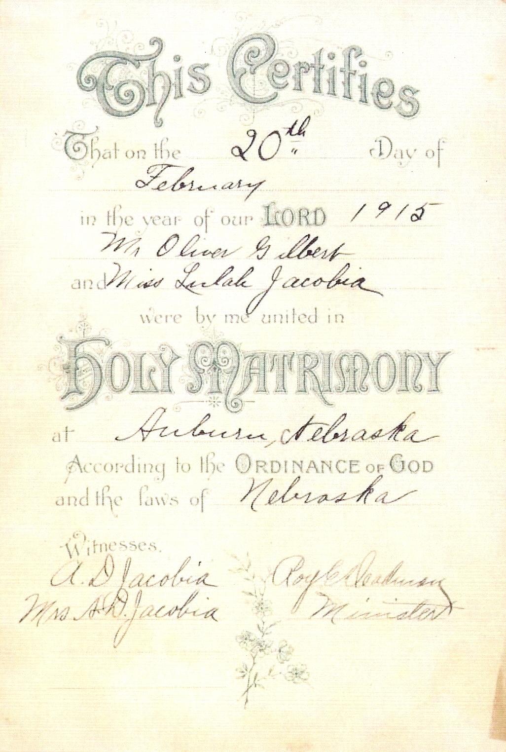 gilbert lulah oliver kansas marriage certificate june jacobia