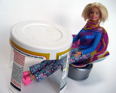Doll furniture made from plastic tubs