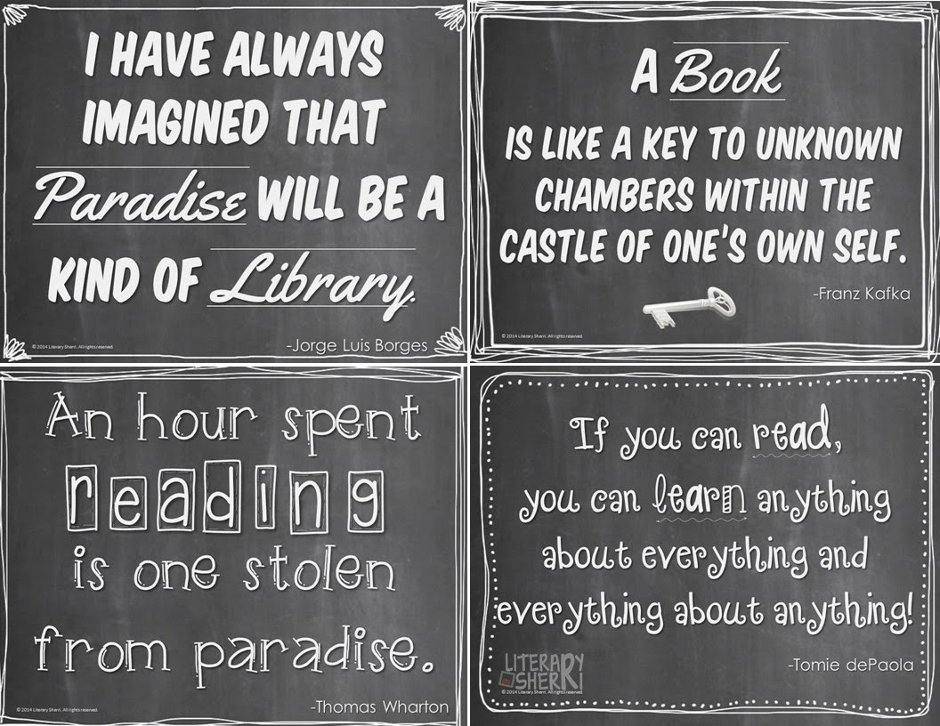 http://www.teacherspayteachers.com/Product/Quotes-About-Books-and-Reading-Posters-1437413