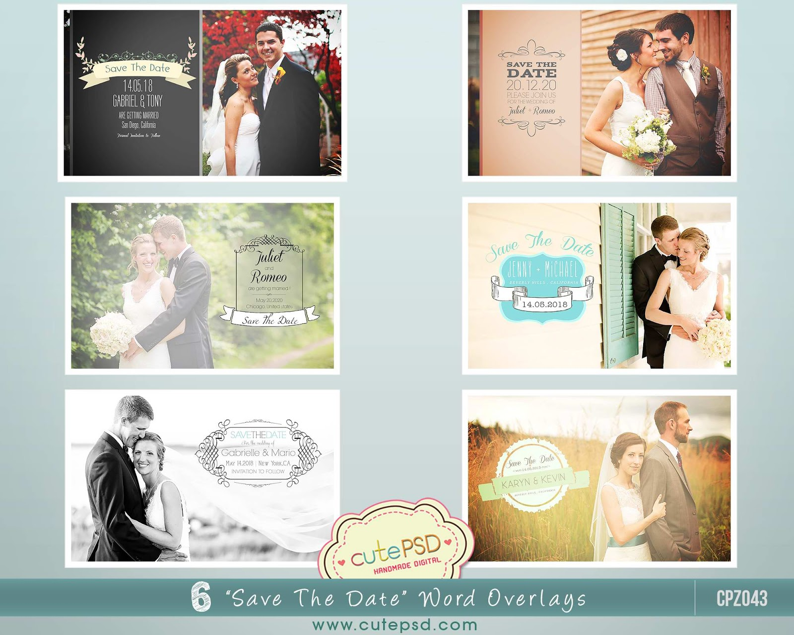 cute psd studio save the date photo overlays photoshop template