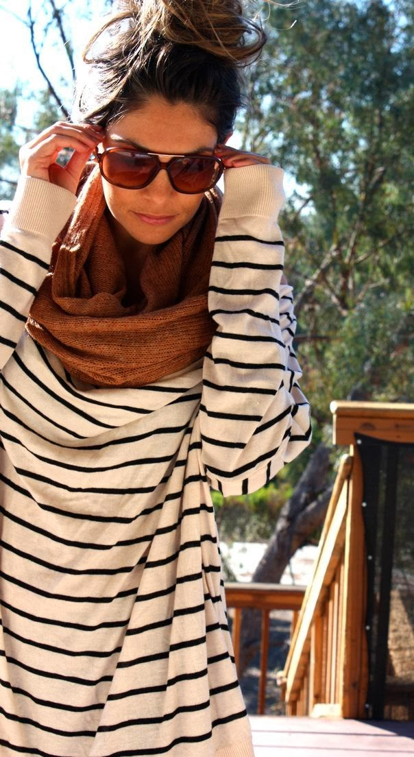 Gorgeous fall fashion with oversized stripes sweater and scarf