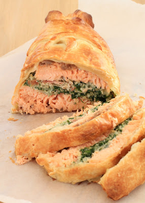 saumon ,épinards, feuilleté , noel