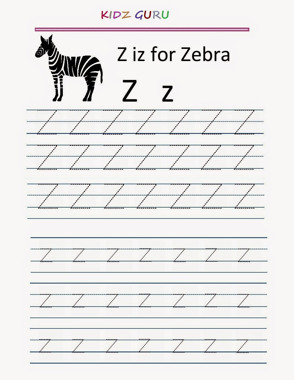 worksheet Zz Phonics Worksheets kindergarten worksheets printable tracing worksheet alphabet z y z