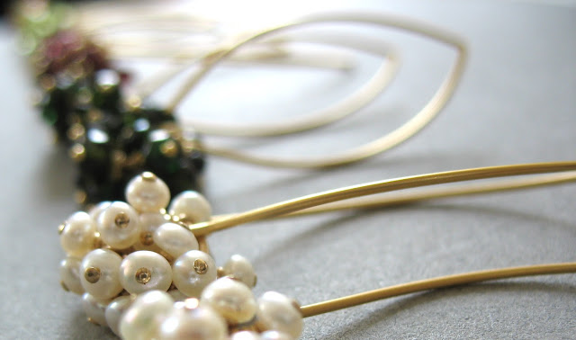persuede drop pearl cluster earrings. all rights reserved. http://persuede.etsy.com