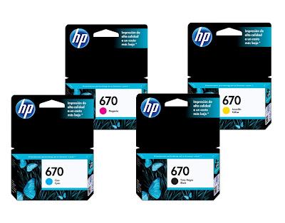 Картриджи  HP 670 черный / пурпурный / голубой / желтый