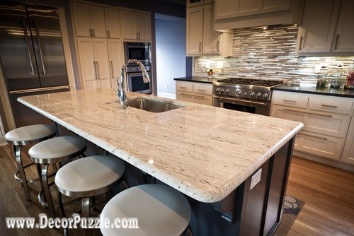 River white Granite countertops, white granite worktops, breakfast bar for kitchen
