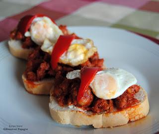 recette tapas espagnol chorizo facile poivron oeuf espagne tapa pintxos