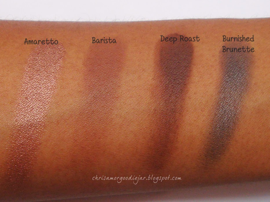 Coastal Scents Neutral E/S Swatches- Amaretto, Barista, Deep Roast, Burnished Brunette