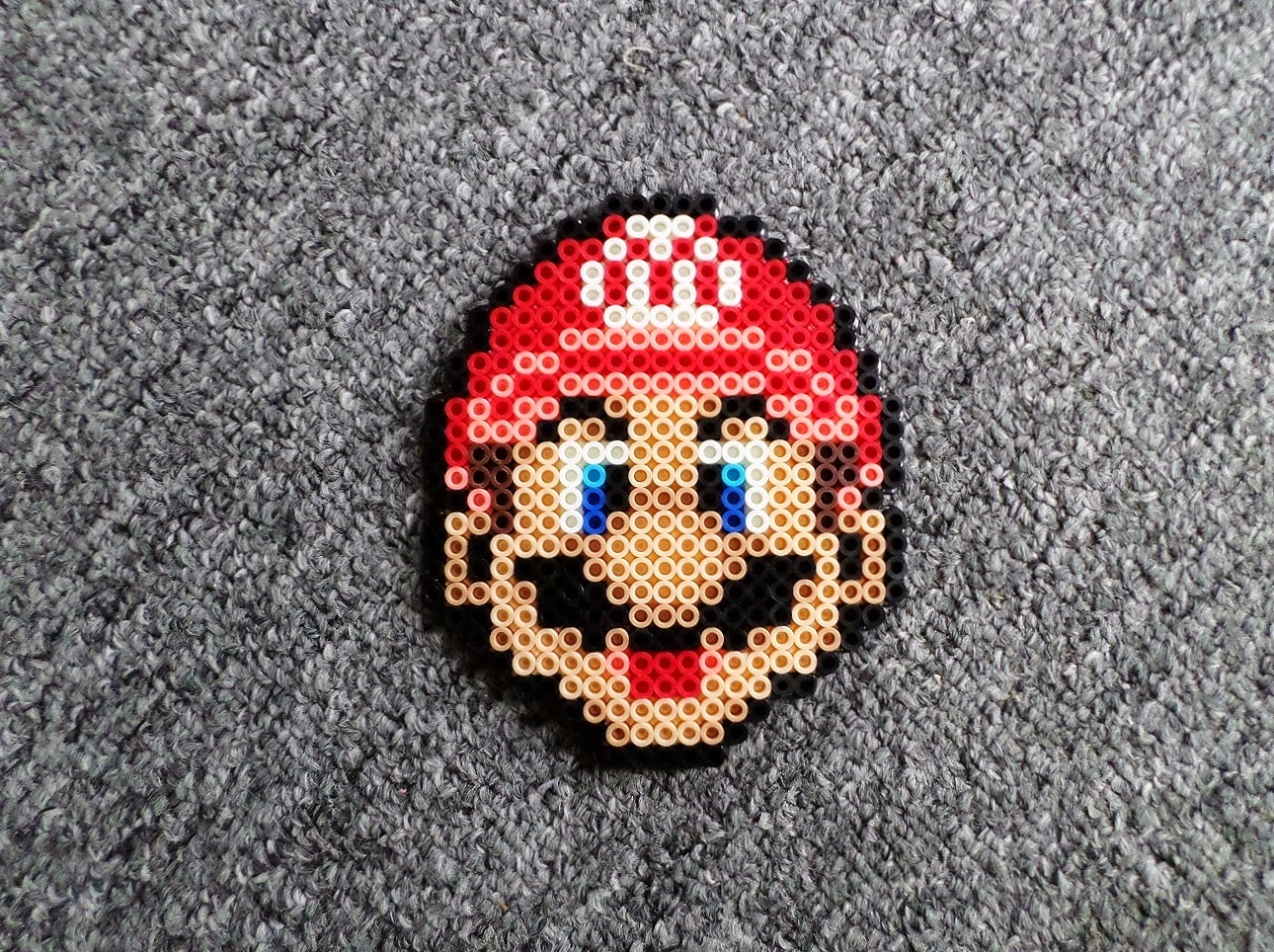 black fingers mario bros perler bead heads
