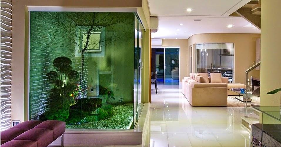 ideias para jardins internoshall de entrada com caminhos e parede de