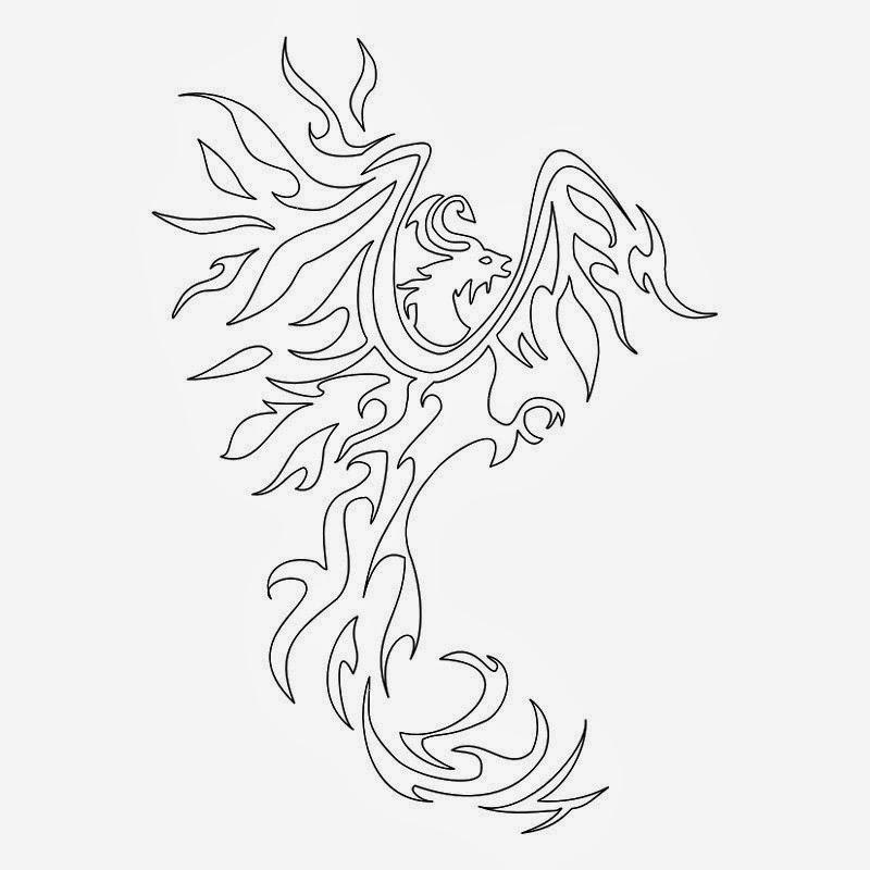 Phoenix off fire long tail tattoo stencil