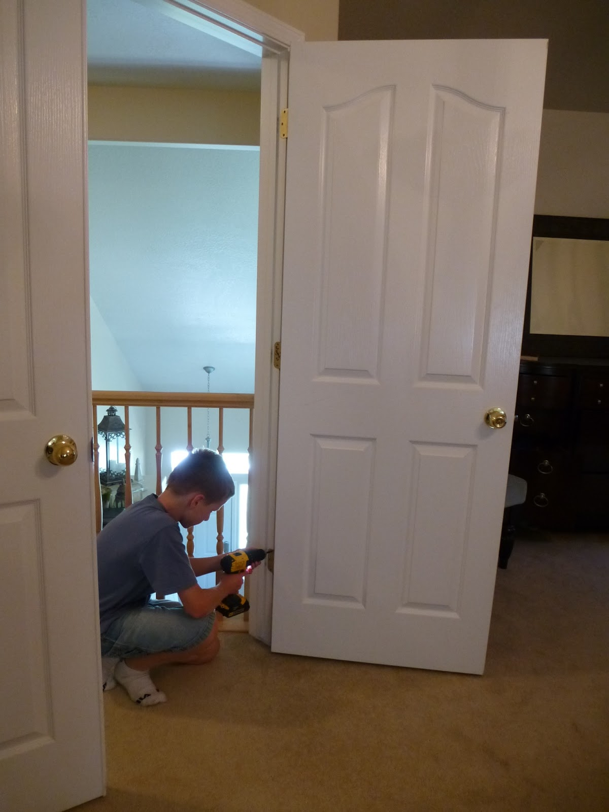 It Is Easier To Take Off The Door Knobs First, Then Take The Doors Off. If  You Are Going To Keep The Same Hinges You Can Either Tape Them Over Or  Remove ...