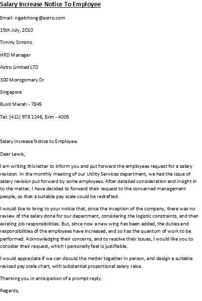 increment letter template – Salary Increase Letter Template from Employer to Employee