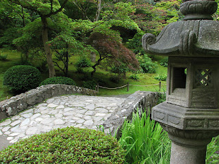 The stone bridge in the Japanese Garden